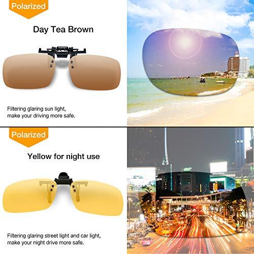 Splaks Clip-on Sunglasses, Unisex Polarized Frameless Rectangle Lens Flip Up Clip on Prescription Sunglasses Eyeglass, 2-Piece Clip on Glasses (1 Brown & 1 Yeallow) by Splaks (Image #1)