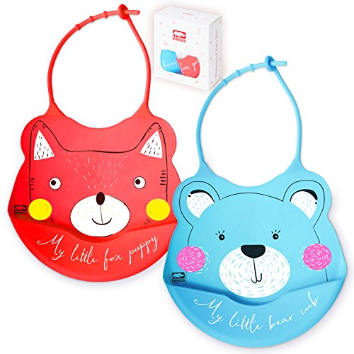 2 Sets of Silicone Waterproof Baby Feeding Bibs Comfortable, Soft, Adjust with Snaps. for Toddlers, Boys Or Girls