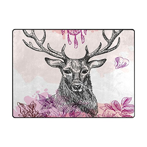 Hand Painted Moose - TSWEETHOME Doormat Front Door Mats Outdoor Inside Mats Personalized Welcome Mats with Hand Painted Black Moose for Chair Mat and Decorative Floor Mat for Office and Home (63 x 48 in & 80 x 58 in)