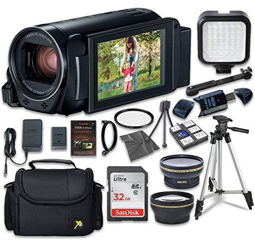 Canon VIXIA HF R80 Camcorder with Sandisk 32 GB SD Memory Card + LED Light + Extra Accessory Bundle