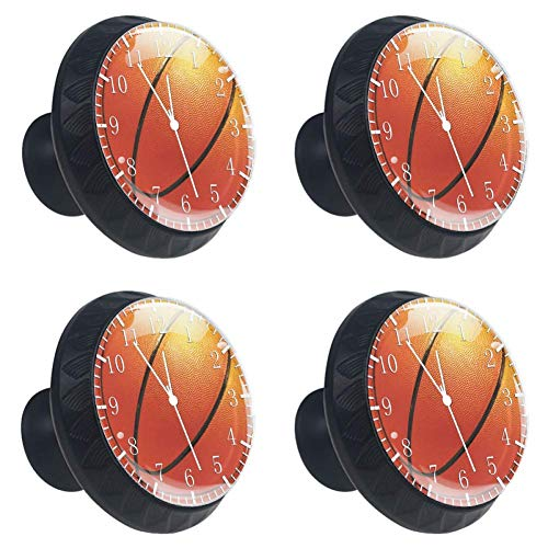 Basketball 09 Drawer Handle 4 Pieces Scratch Proof Crystal Glass Cabinet Knobs and Pulls for Home 1.38×1.10in (09 Basketball)