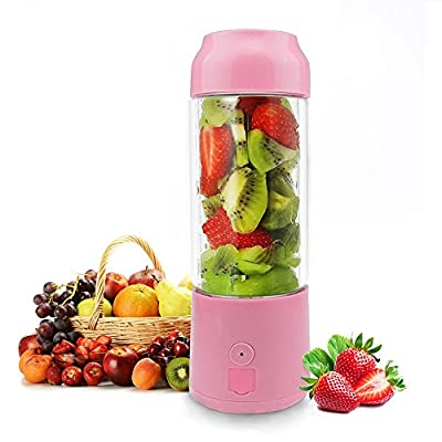 Personal Portable Blender,480ml Glass Juicer Cup/USB Rechargeable Small Blender,Fruit/Shakes/Smoothies/Baby Food Mixer with Travel Lid/Sport Bottle,Used as Power Bank for Cellphone