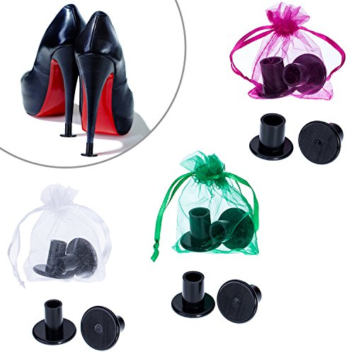 Price comparison product image Mtlee 6 Pairs High Heel Protectors Heel Stoppers, Small/ Middle/ Large (Black)