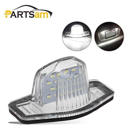 Partsam 6000K White 18-3528-SMD LED License Plate Lights Rear Tag Lamp Assembly, Pack of 2 -