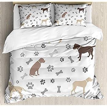 Amazon.com: Dog Lover 4pcs Bed Set Paw Print Bones and Dog