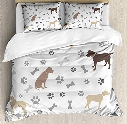 Print Proof Sheet - Dog Lover 4pcs Bed Set Paw Print Bones and Dog Silhouettes American Foxhound Breed Playful Pattern Bedding Sets Duvet Cover Flat Sheet No Comforter with Decorative Pillow Shams for Kids Adults Teens