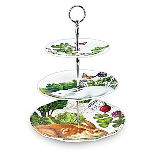 Michel Design Works 3-Tier Adjustable Melamine Buffet or Dessert Stand, Garden Bunny