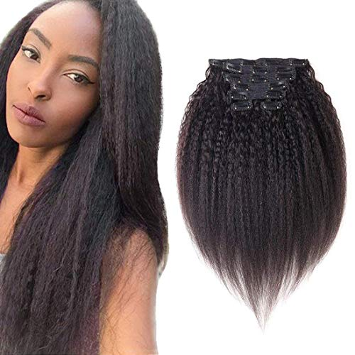 viviaBella Kinky Yaki Straight Clip in Human Hair Extensions 14 Inch Natural Color Double Weft Brazilian Unprocessed Virgin Hair 7 Peices/set 16 Clips for American Black Women(70g 14