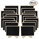 Genenic 20 Pack Wood Mini Chalkboards Place Cards with Support Easels, Small Rectangle Small Chalkboard Signs for Weddings, Food Signs, Party Supplies, Table Numbers and Special Event Decoration