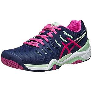 ASICS Women's Gel-Resolution 7 Tennis Shoe, Indigo Blue/Pink Glow/Paradise Green, 7.5 M US