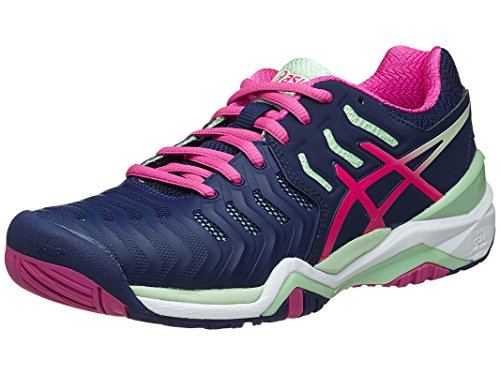 ASICS Women's Gel-Resolution 7 Tennis Shoe, Indigo Blue/Pink Glow/Paradise Green, 8 M US (Tennis Asics Woman Shoes)