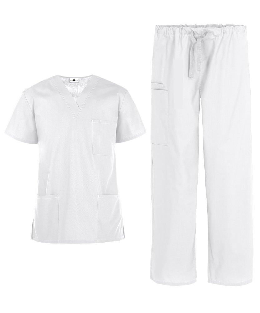 Men's Medical Uniform Scrub Set – Includes 3 Pocket V-Neck Top Drawstring Pant (XS-3X, 14 Colors) (XX-Large, White)