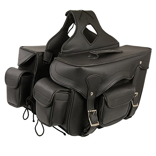 HelmetUSA-Zip-Off Double Front Pocket PVC Throw Over Saddle Bag w/ Reflective Piping