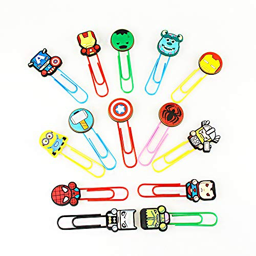 Melleco 14pcs Paper Clips Bookmark Superhero Cartoon Cute Page Markers Organizer Funny Cute School Office Supplies Gift (A Type) by Melleco