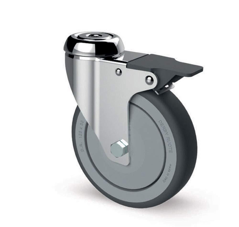 RUEDA FSC7 MGP de 100 mm y aro de goma, fijación agujero pasador y con freno