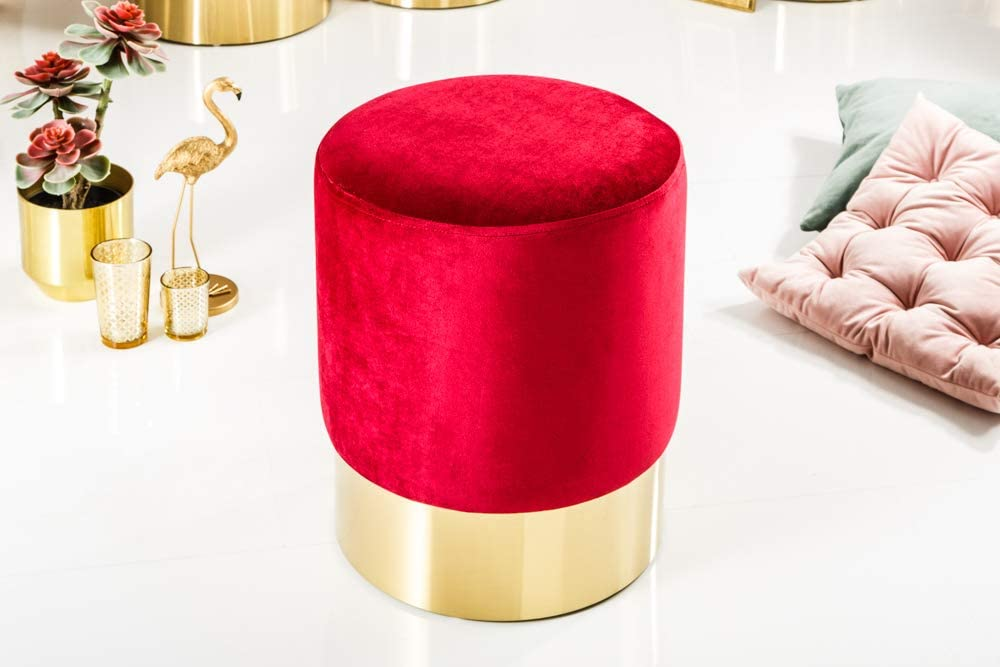 Invicta Interior Sgabello elegante in velluto stile barocco Plastica BxHxT: 35 x 41 x 35 cm Oro rosso