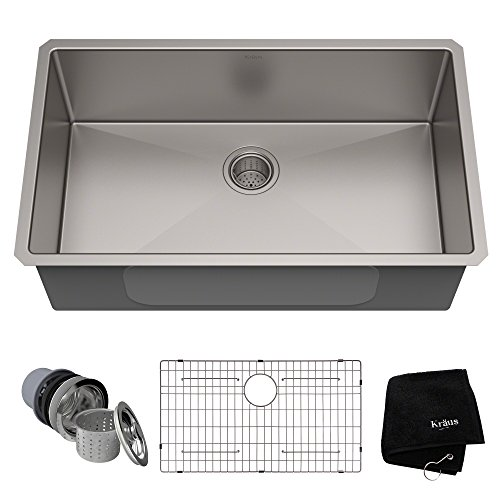 (Kraus Standart PRO 32-inch 16 Gauge Undermount Single Bowl Stainless Steel Kitchen Sink, KHU100-32)