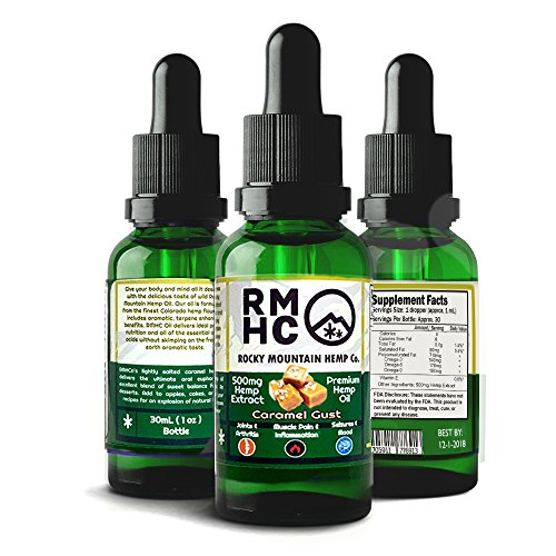 Rocky Mountain Hemp Co : Premium Full Spectrum Hemp Oil for Pain Relief : Sleep Aid :: Supports Stress, Anti Anxiety: Herbal Health Supplement Drops : Rich in Omega 3 6 9 (Caramel, 500) (Rocky Mountain Hemp Co Premium Organic Hemp Oil)