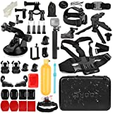 SHOOT 51in1 Accessories Kit with Foldable Stick for GoPro Hero 8 Hero 7 Black Silver White/6/5/4/3+/3/5S,OSMO Action(Waterproof Large Carrying Case,Chest Strap,Tripod)