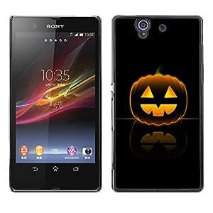 Sony Xperia Z L36H - Metal de aluminio y de plástico duro Caja del teléfono - Negro - Halloween Happy Pumpkin