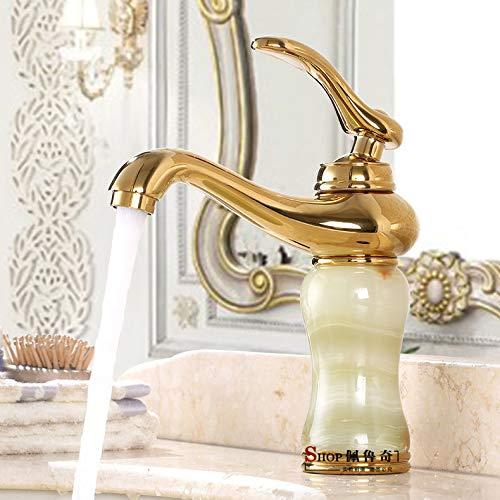 14 LHbox Basin Mixer Tap Bathroom Sink Faucet Natural jade full copper gold faucet hot and cold redary table continental antique wash basin, titanium gold C