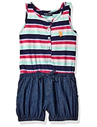 U.S. Polo Assn. girls Poplin Tank and Denim Bubble Short Romper