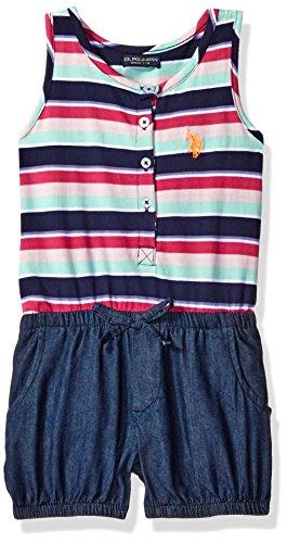 (U.S. Polo Assn. Girls' Little Poplin Tank and Denim Bubble Short Romper, Peacoat 6)