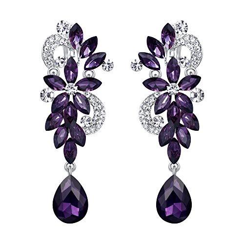 (BriLove Wedding Bridal Clip On Earrings for Women Bohemian Boho Crystal Flower Chandelier Teardrop Bling Long Dangle Earrings Amethyst Color Silver-Tone)