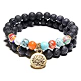 17mile Volcanic Natural Stone Chakra Tree of life Gold Charm Gemstone Bracelet Set Prayer Stone Bracelet Jewelry Accessories for Unisex