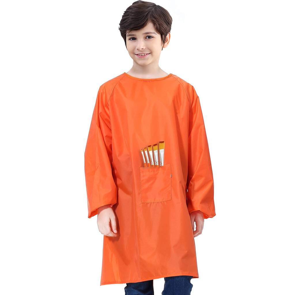 Royar beauty Kids Art Smock, Waterproof Painting Apron for Children,Artist Aprons with Long Sleeve and Long Section,Apron for Toddler,Smocks for Boys and Girls Color Orange(Medium-XXL)