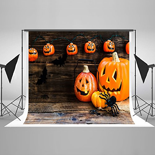 Kate 7ft(W) x5ft(H) Halloween Pumpkin Heads Photography Background Spiders on Wooden Boards Backdrops for Photographic Studio Props Cotton Cloth Halloween Background