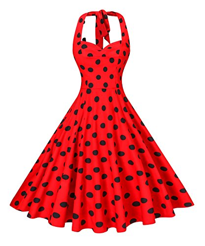 - V fashion Women's Rockabilly 50s Vintage Polka Dots Halter Cocktail Swing Dress