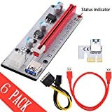 ZinMark [Bitcoin Mining Dedicated Card][6-Pack][V007] PCI-E 1x to 16x Powered Riser Adapter Card w/ 60cm USB 3.0 Extension Cable & SATA Power Cable - GPU Riser Adapter - Ethereum Mining ETH