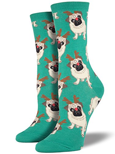 Socksmith Women's Antler Pug Crew Socks, Green, - Pug Slippers