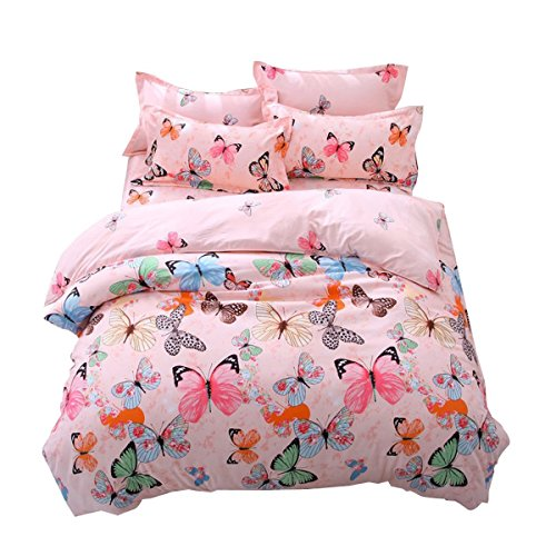 Lemontree Butterfly Bedding Set- Girls Soft Bedding Collection-Pink Green Brown Blue Black Butterflies Floral Patterns,Hypoallergenic,Microfiber -1 Duvet Cover Set + 1 Bed Sheet + 2 Pillowcases