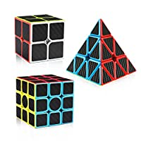 D-FantiX Carbon Fiber 2x2 3x3 Pyramid Speed Cube Bundle, 2by2 3by3 Pyramid Speed Cubes Set Magic Cube Puzzle Toys for Kids