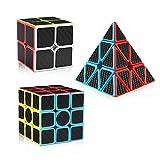 D-FantiX Carbon Fiber 2x2 3x3 Pyramid Speed Cube Bundle, Magic Cube Puzzle Toys for Kids D-FantiX