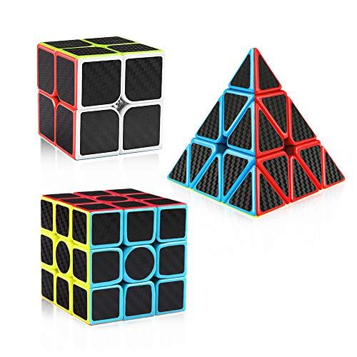 D-FantiX Carbon Fiber 2x2 3x3 Pyramid Speed Cube Bundle, Magic Cube Puzzle Toys for Kids