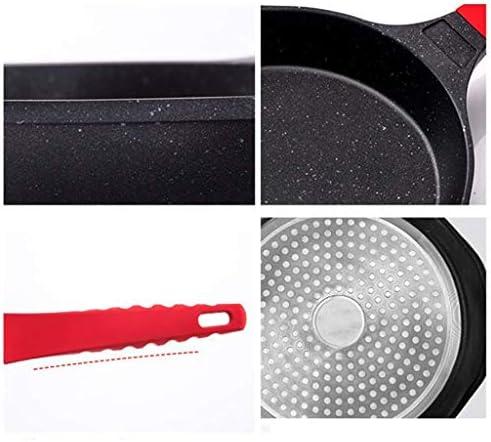 SPNEC Noir Frying Pan - Aluminium Frying Pan, Facile à Nettoyer, Non-adhérent, avec antidérapants Poignée Silicone Trous de Suspension for l'induction et du gaz