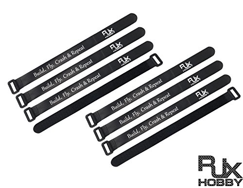 RJXHOBBY 20mmX250mm Non-Slip Silicone Battery Straps - 8 PACK Black - Electric 250 Helicopter
