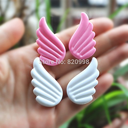 Angel Wings Scrapbooks - ZAMTAC 5 Pair 2 Colors Cute Angel Wings for DIY Phone Deco Kawaii Flatback Resin Cabochon Scrapbook Embellishment 4023mm - (Color: Pink)