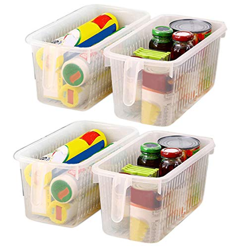 Kurtzy Refrigerator Basket (4 Pack) - Plastic Kitchen Storage Organizer Rectangular Basket with Handle for Organizing Shelves, Pantry, Fridge, Bathroom, Kitchen -