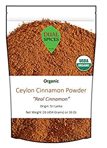 LIMITED TIME SALE - Dualspices Ceylon Cinnamon Powder USDA Certified Organic 1 Pound Bulk, Sri Lanka Real Cinnamon