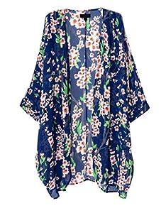 OLRAIN Women's Floral Print Sheer Chiffon Loose Kimono Cardigan Blue (Large)