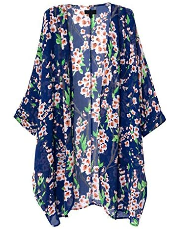 059dda1ba OLRAIN Women's Floral Print Sheer Chiffon Loose Kimono Cardigan Capes  (Medium, ...