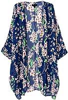 OLRAIN Women's Floral Print Sheer Chiffon Loose Kimono Cardigan Capes (Medium, Red-1)