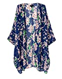 OLRAIN Women's Floral Print Sheer Chiffon Loose Kimono Cardigan Capes Blue Medium