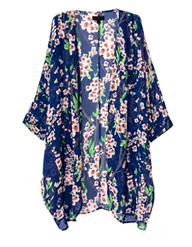 OLRAIN Women#039s Floral Print Sheer Chiffon Loose Kimono Cardigan Capes Blue Small