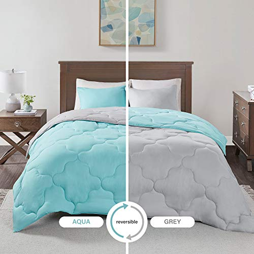 (Comfort Spaces Vixie 3 Piece Comforter Set All Season Reversible Goose Down Alternative Stitched Geometrical Pattern Bedding, Full/Queen, Aqua/Grey)