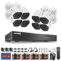 ANNKE 8-Channel Security Camera System and (8) 3.0Megapixel Weatherproof Cameras, QR Code Scan, Easy Remote View and Email Alerts, NO HDD,White